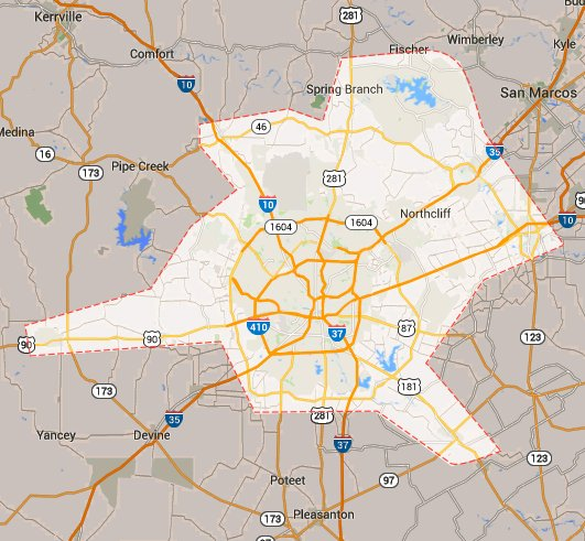 Concrete Repain And Leveling San Antonio Service Area Map